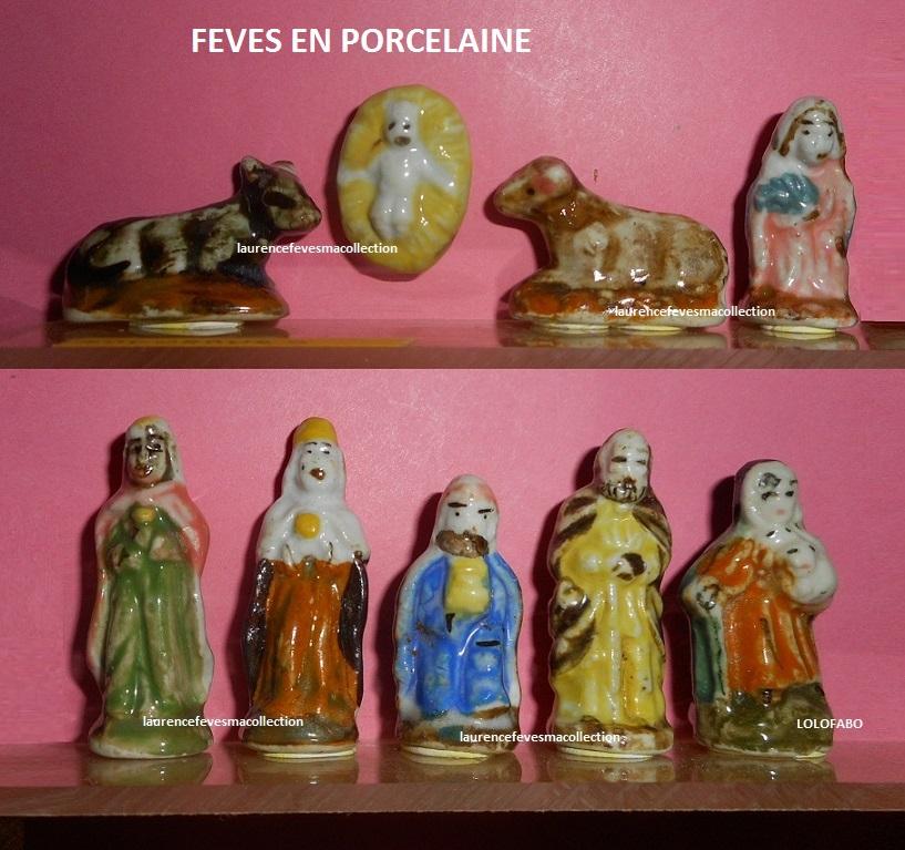 Santons de la cr/èche 4 f/èves en porcelaine